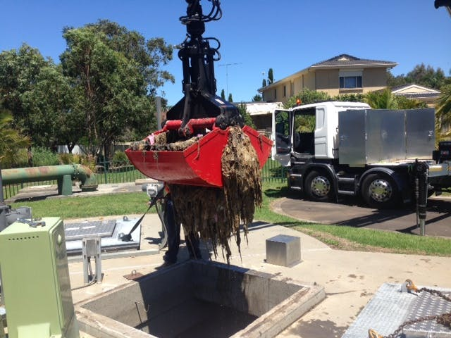 Clearing a Shellharbour pumping station before a blockage occured near homes