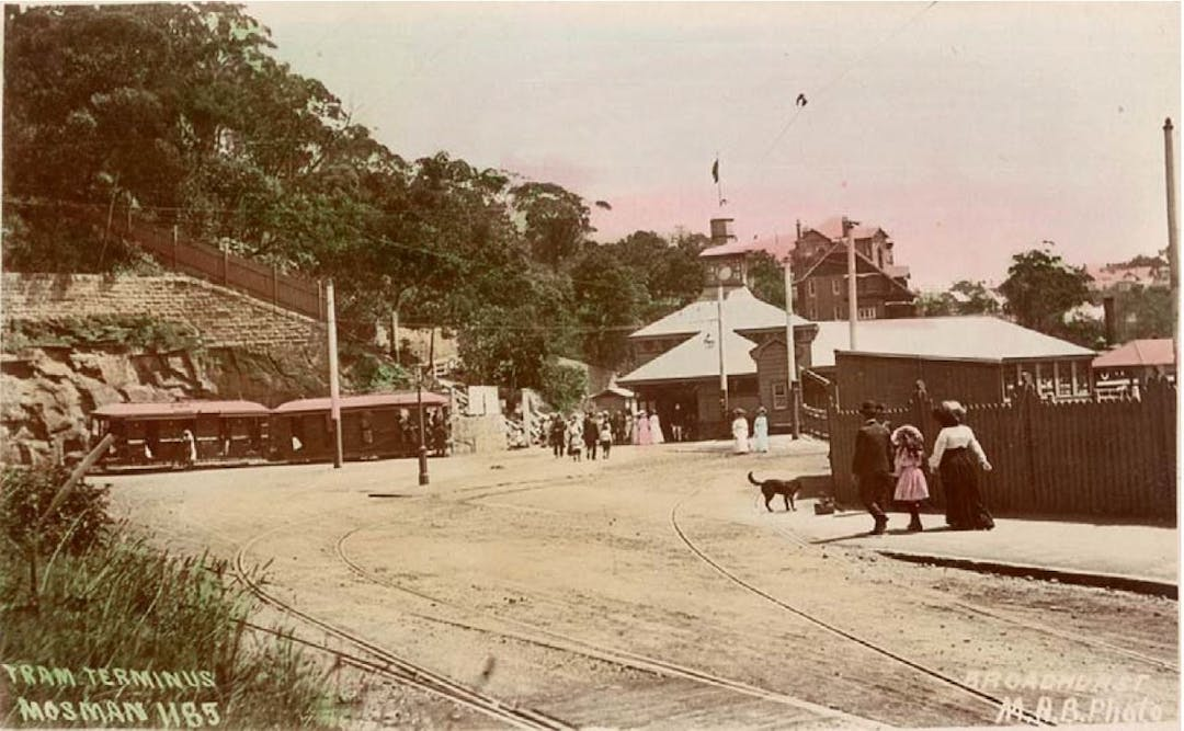 Post 1902 image showing Mosman Bay Wharf and the former tram terminus with excavated wall located at the southern end of Avenue Road, Mosman