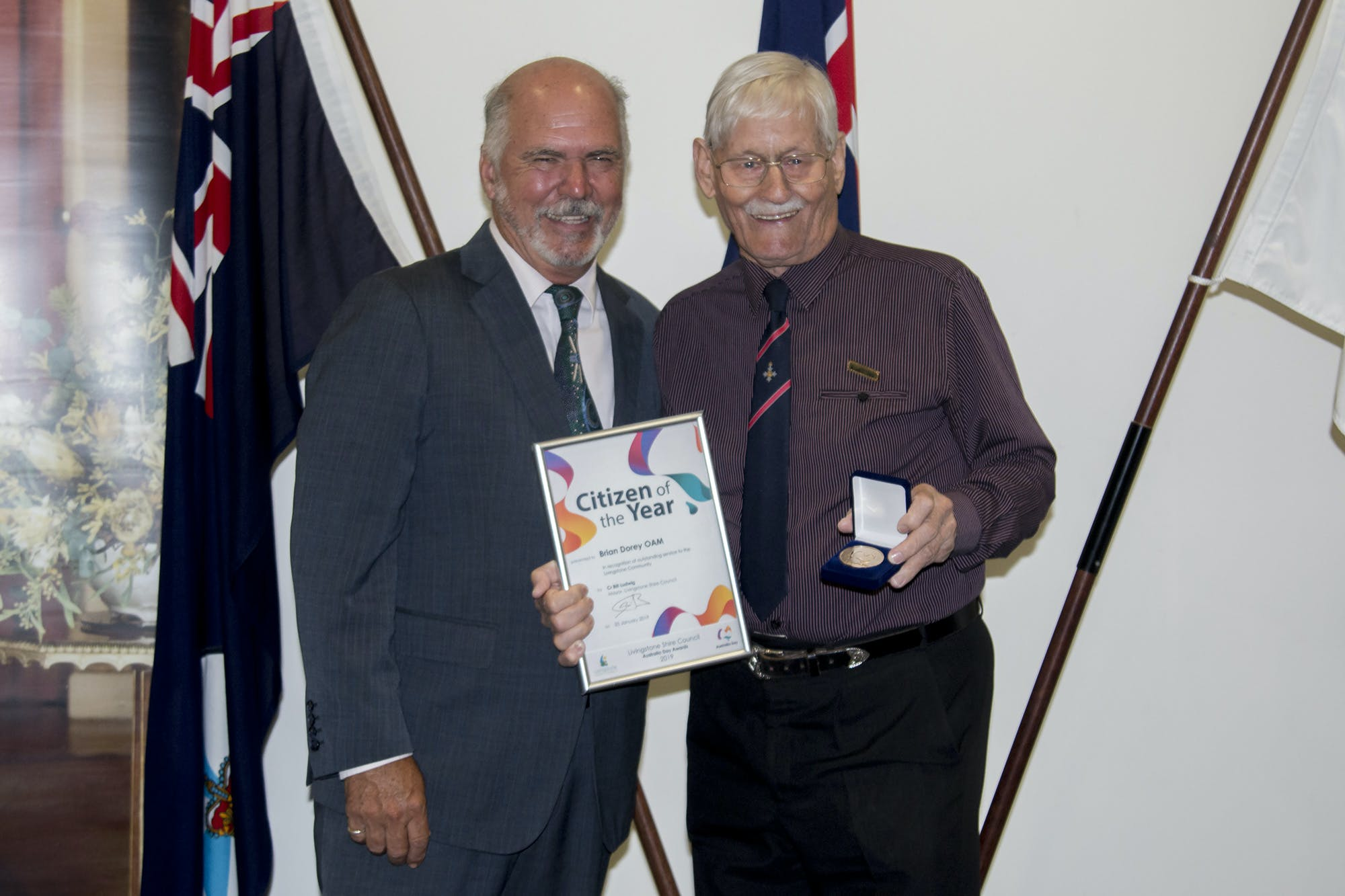 Livingstone Shire Council Australia Day Awards   Citizen Of The Year Brian Dorey With Mayor Bill Ludwig