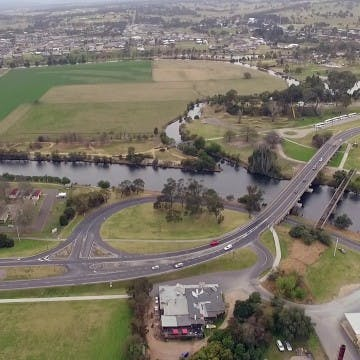 Aerial view of the mitchell river near bairnsdale cbd