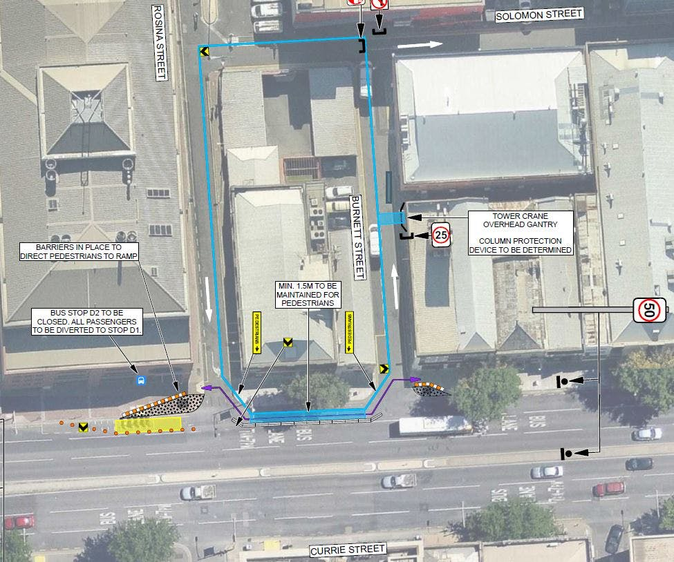 Proposed construction area requiring City Works Permit