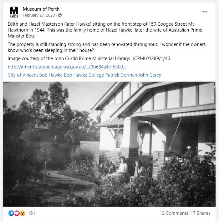 Museum of Perth Facebook Post