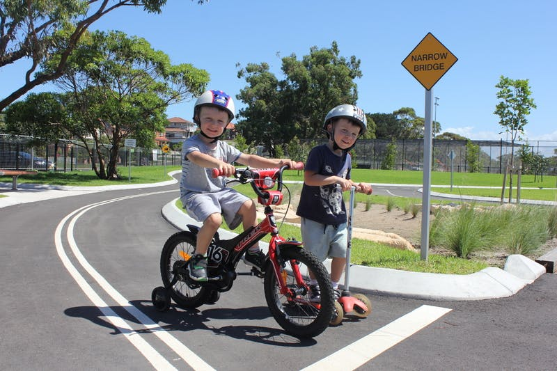 Kids testing out the bike track