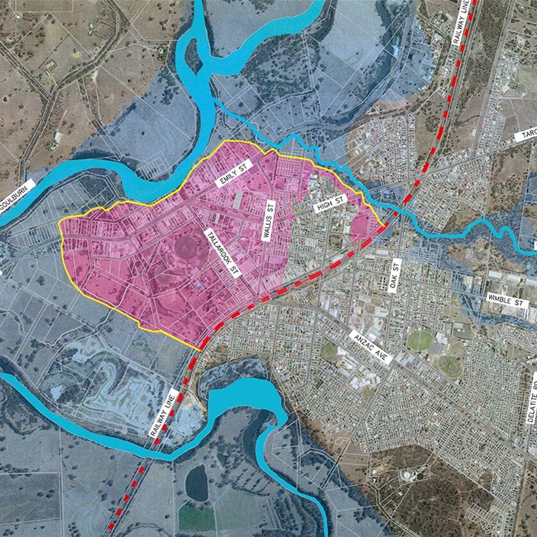 Map showing levee boundary and area to be protected by the proposed levee