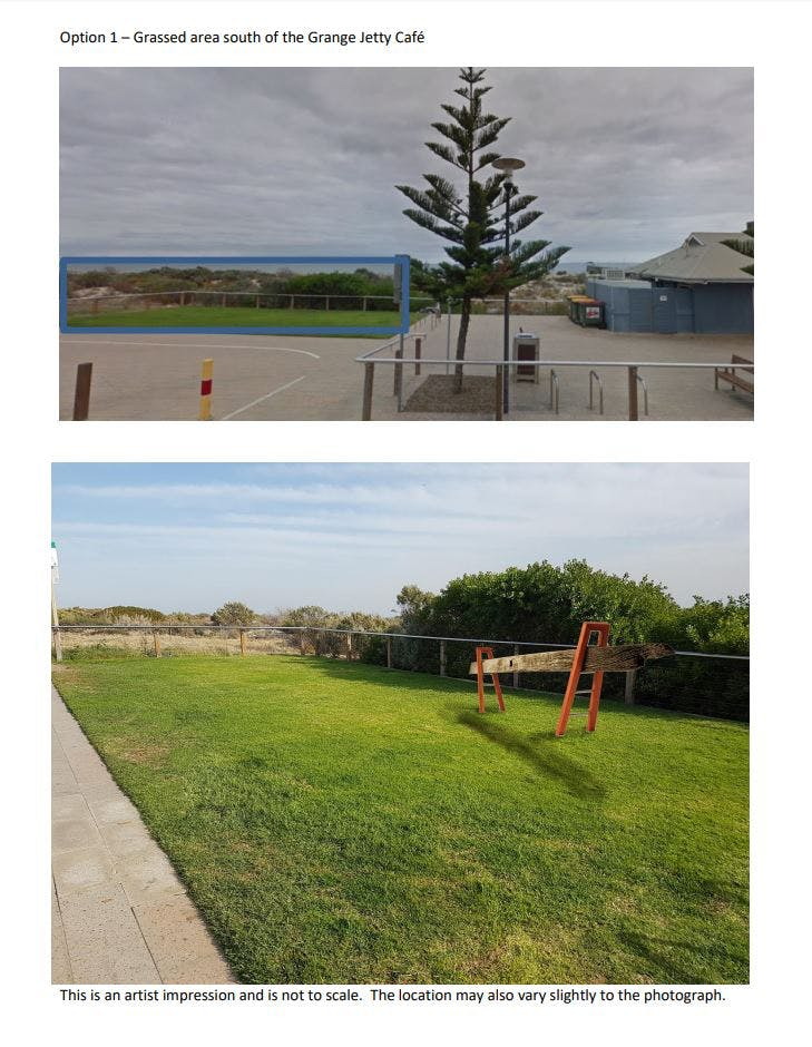 Option 1 - Grassed area south of the Grange Jetty Cafe