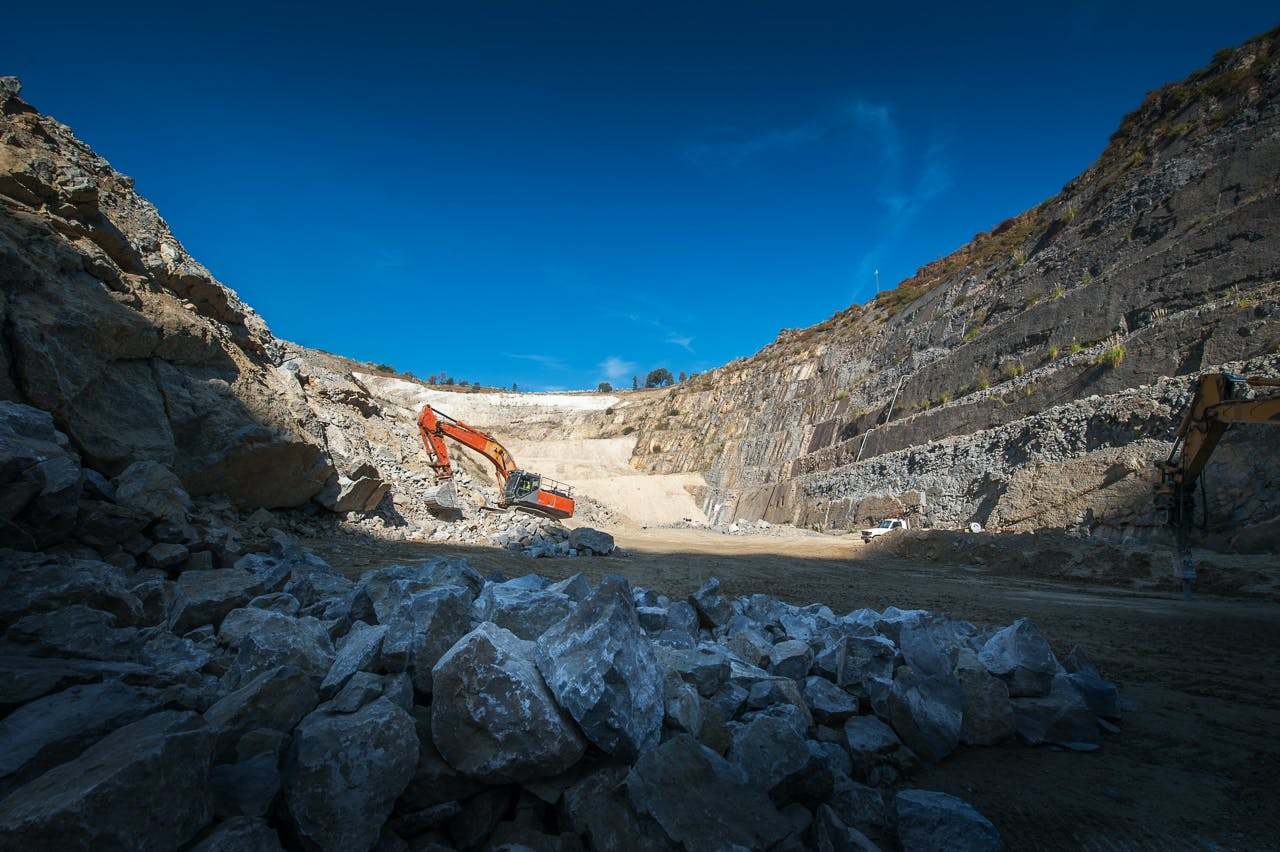 View from the bottom of the quarry pit