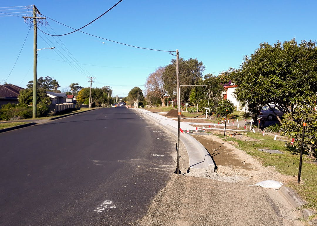 Footpath works at the western end of King Street, leading to the intersection with Gailer Drive.