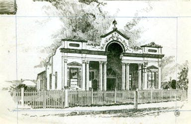 1889 Drawing Of Bowral School Of Arts Before The 2nd Storey Added