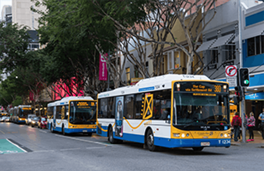 Screetscape of Adelaide Street with Council buses