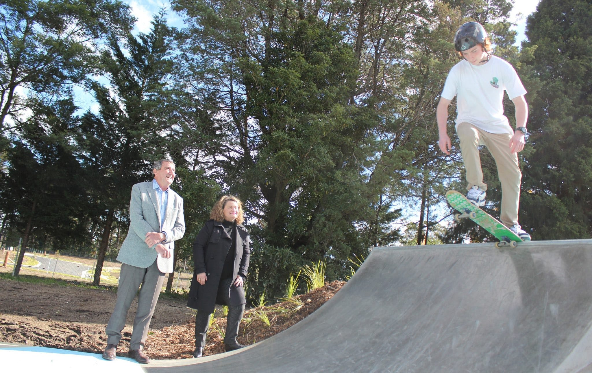 Tyson Robb tests the new skate facilities