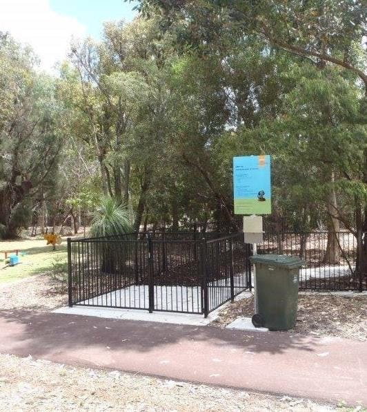 Example of Education Board and Double 'air lock' gates in the fence