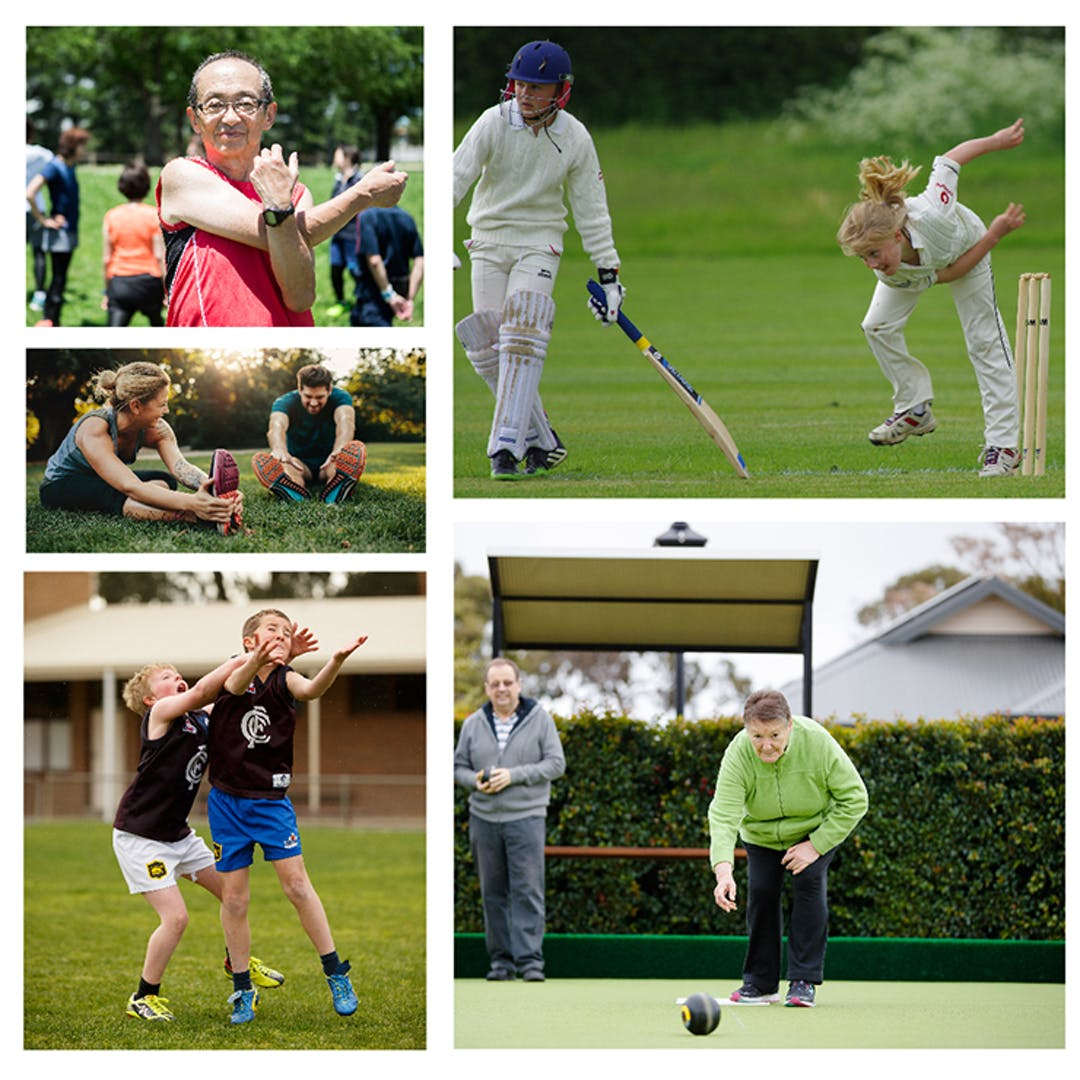 Collage of different people of different ages doing sporting and recreation activities including stretching, bowls, football and cricket