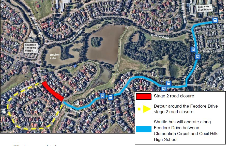 Cecil Hills - Feodore Dr traffic changes and bus route from 16 July 2021