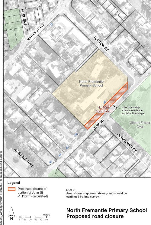 Map of North Fremantle PS proposed road closure