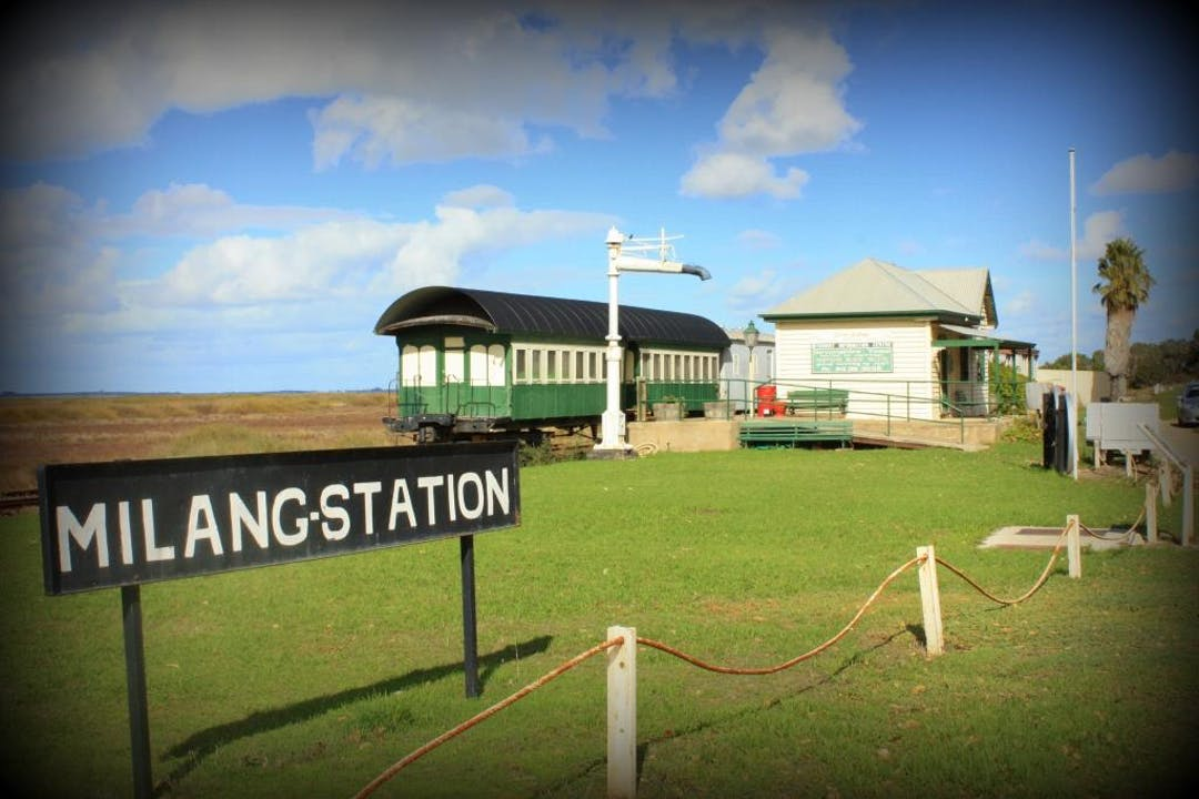 Milang station with sign