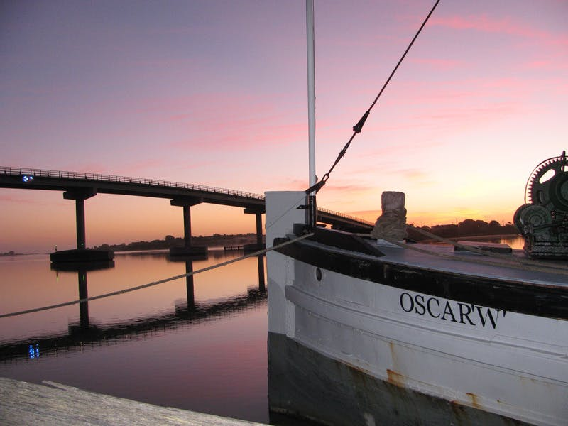 Oscar W Paddle Steamer at Port of Goolwa Wharf, Sunrise - Alexandrina Council Staff Photo