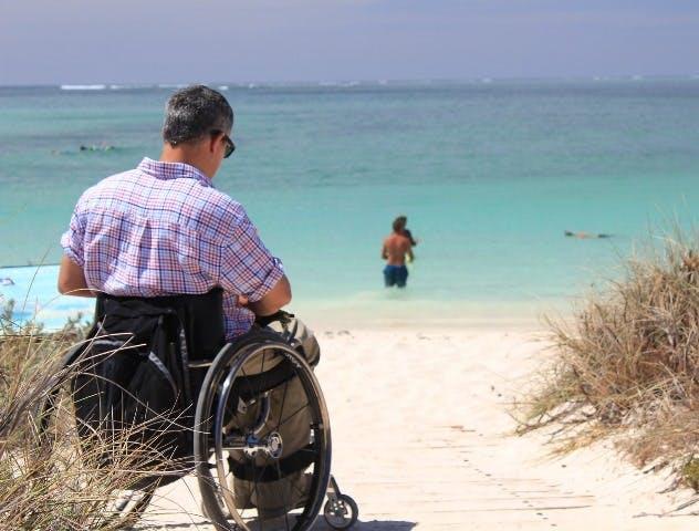 Wheelchair access to the beach in summer