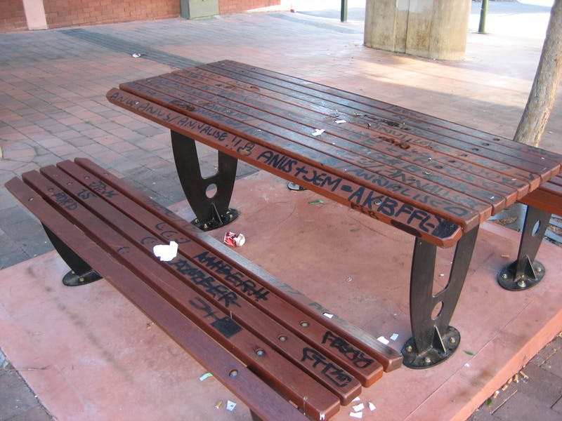 Graffiti - public seating Blaxland