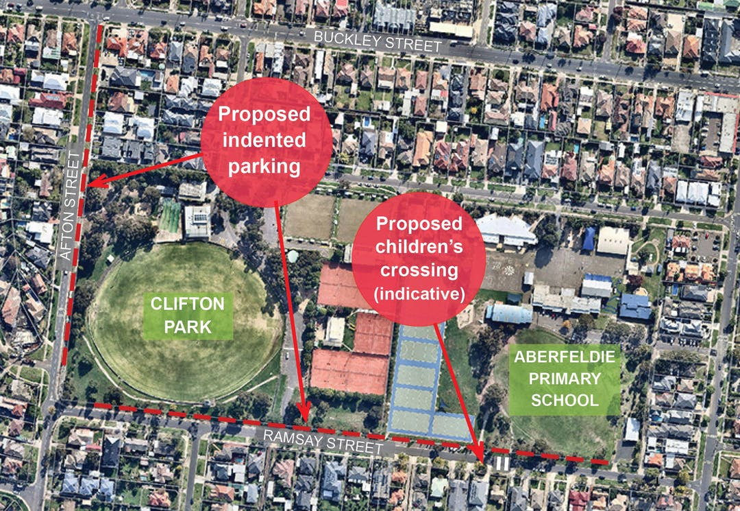 Planned indented parking, path upgrades and children's crossing on Afton and Ramsay Streets