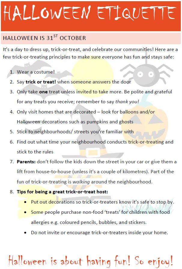 Halloween Etiquette 2017
