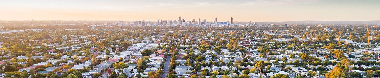 View of City of Unley's leafy suburbs, looking toward Adelaide CBD