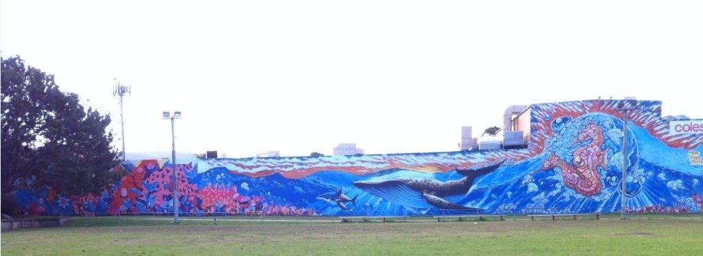 Corrimal Mural 2015, Artists: Mitchel Guerin (Bafcat), Tim Phibs (Phibs), Alejandro Martinez (Peques)