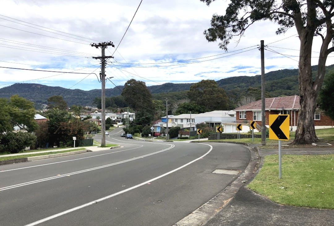 The curve on Tarrawanna Road, Corrimal.