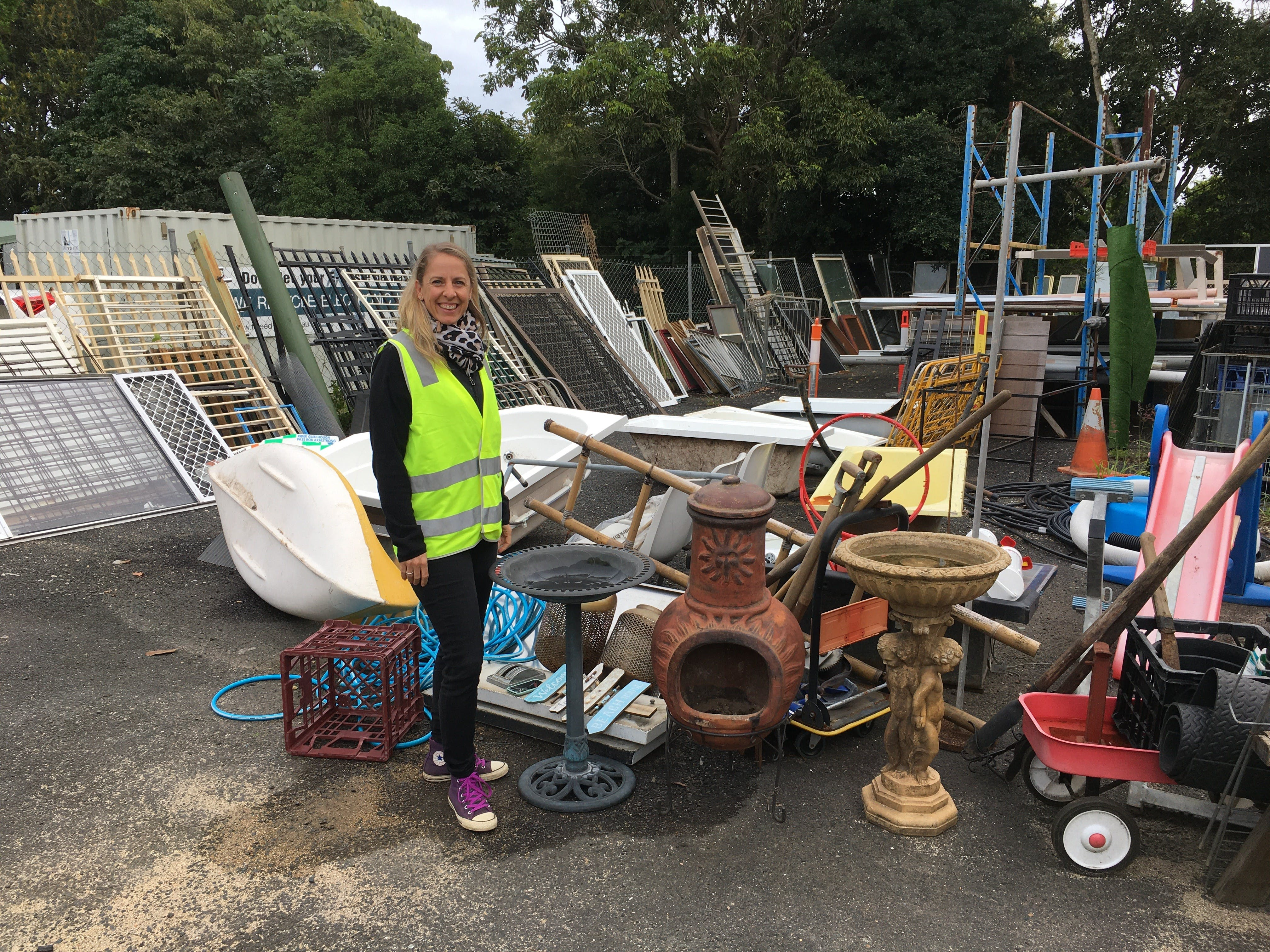 Council's Waste Education Officer Tarra Martel at the Tip Shop with items that have been recovered from ending up in landfill