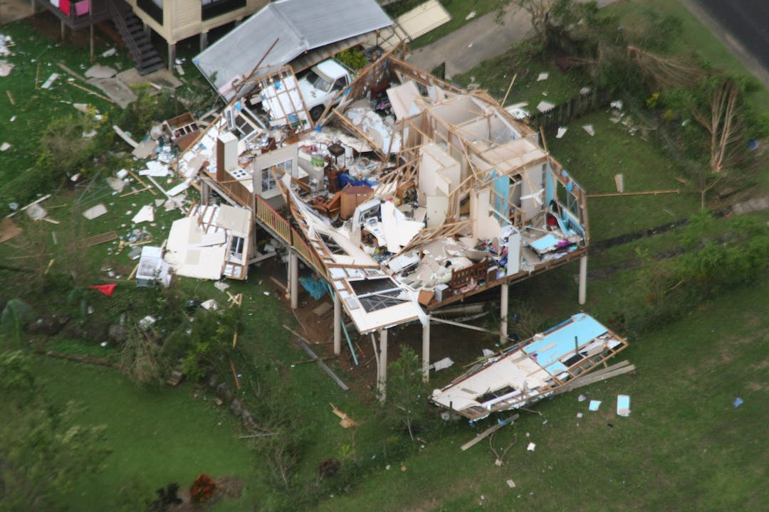 A house damaged in a cyclone