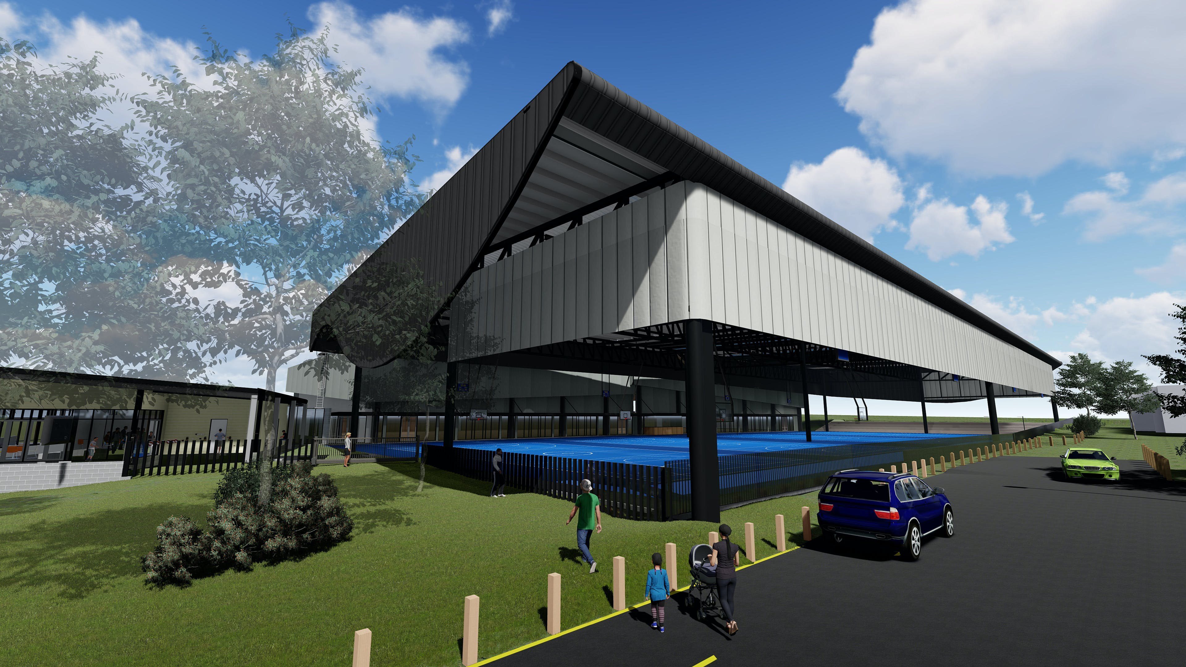 Proposed new roof and upgraded courts^