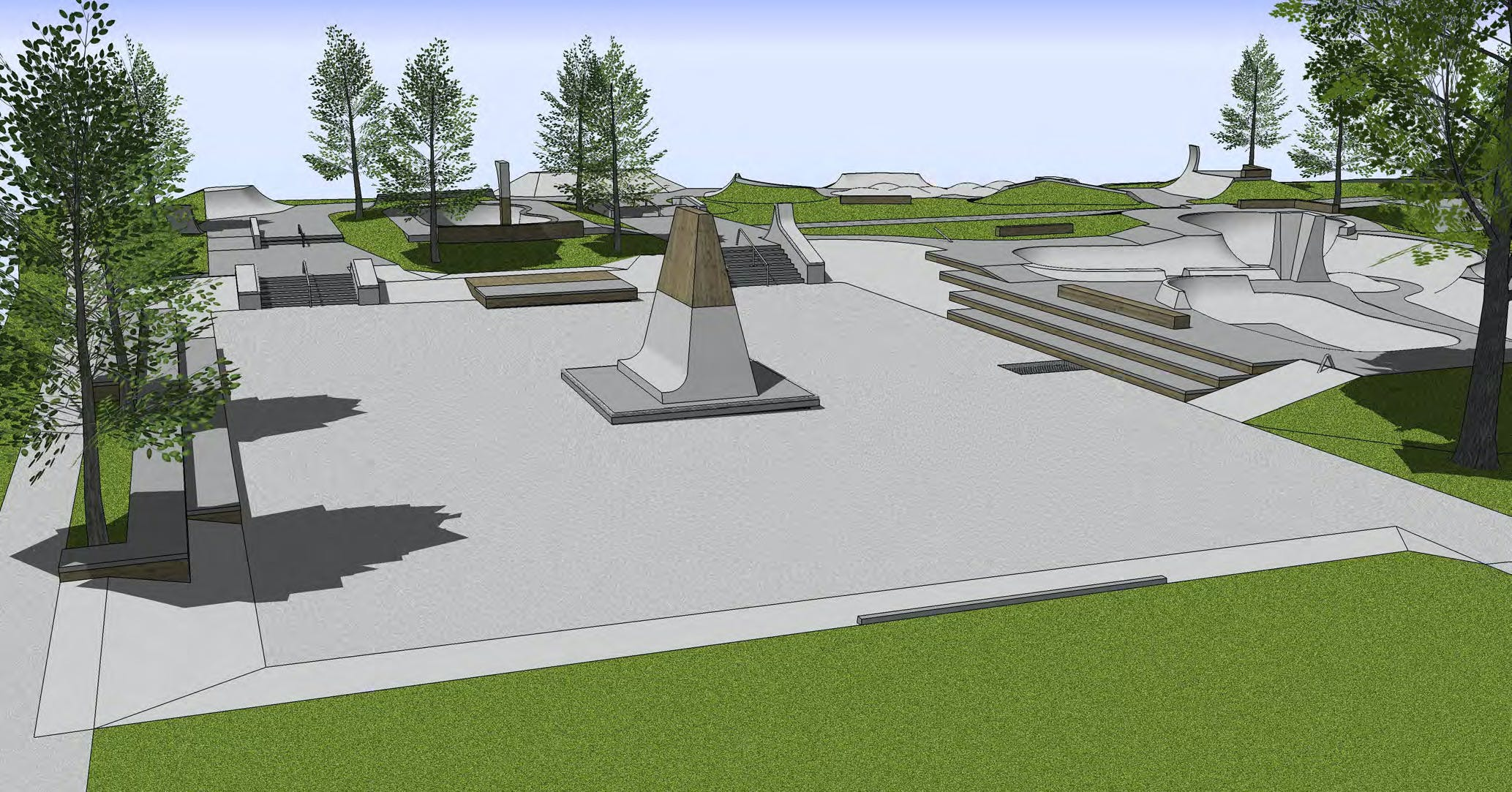 Open plaza and skateable art feature