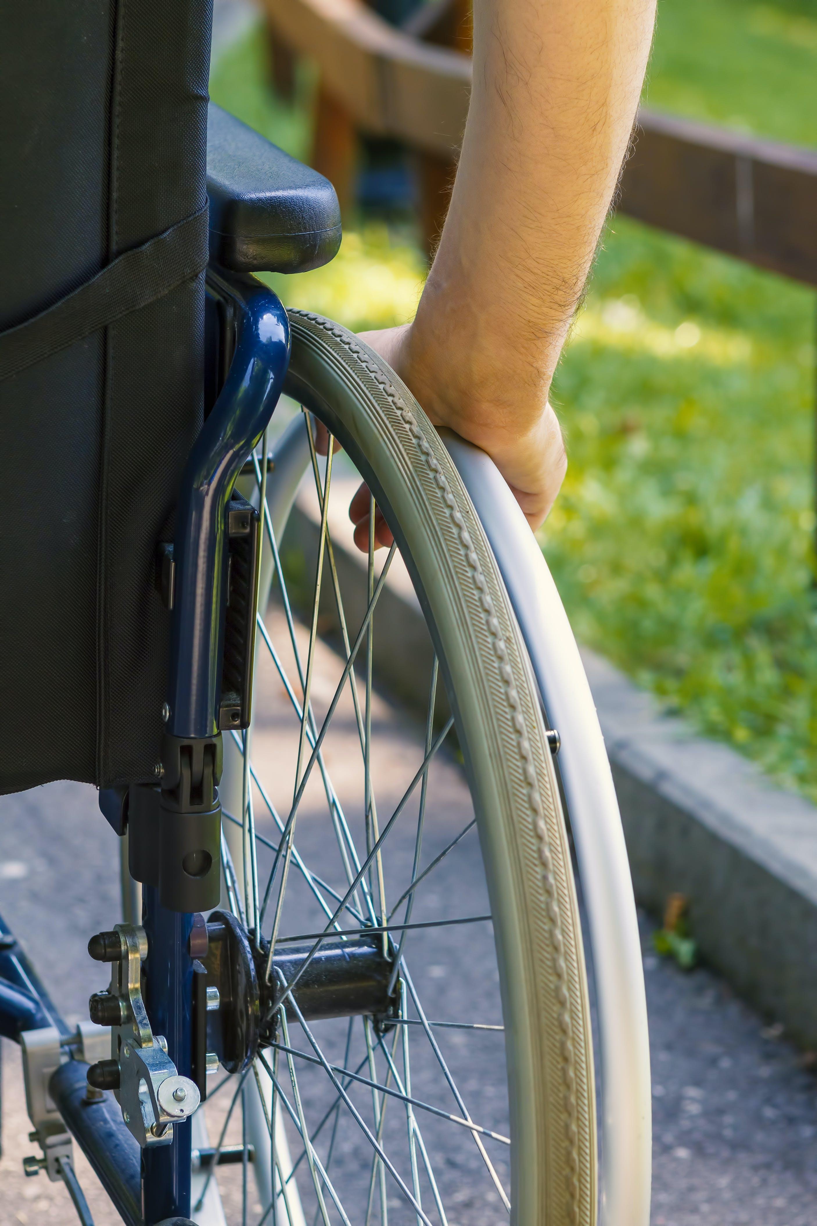 Wheelchair wheel close up