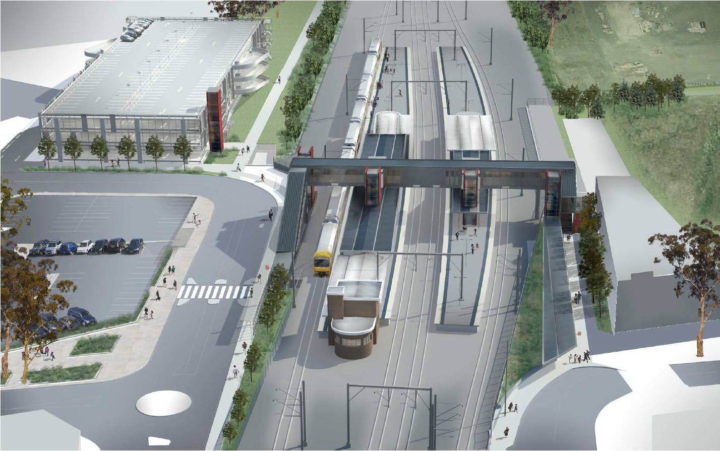 Artist's impression of the Rooty Hill Station Upgrade and Commuter Car Park, subject to detailed design