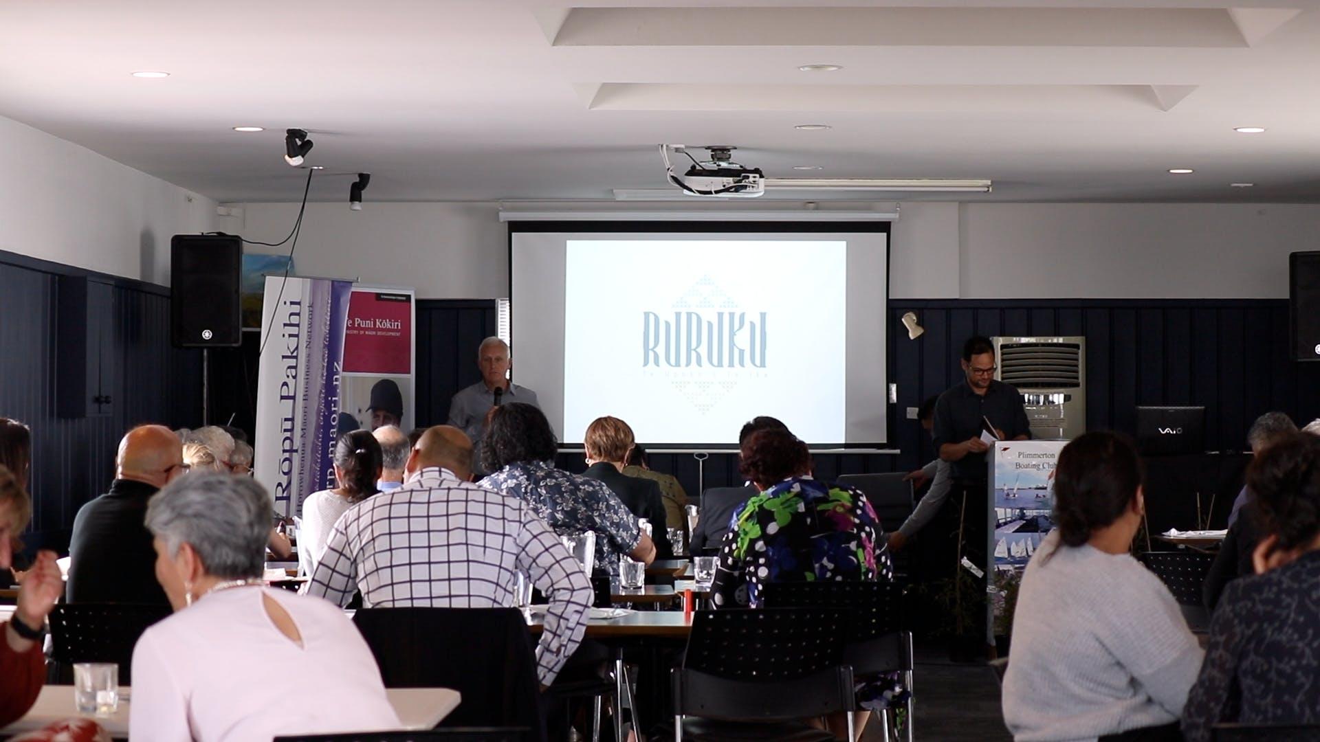 Victoria University Business School Team presenting at Ngā Mahi A Māui