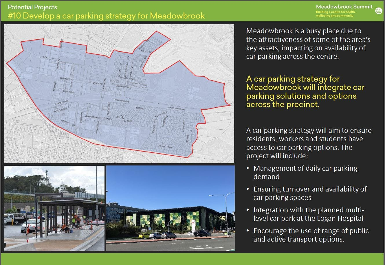 10 Develop a car parking strategy for Meadowbrook