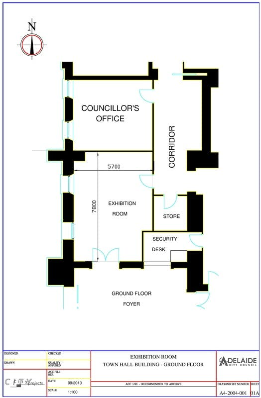 Exhibition Room Floor Plan (Adelaide Town Hall)