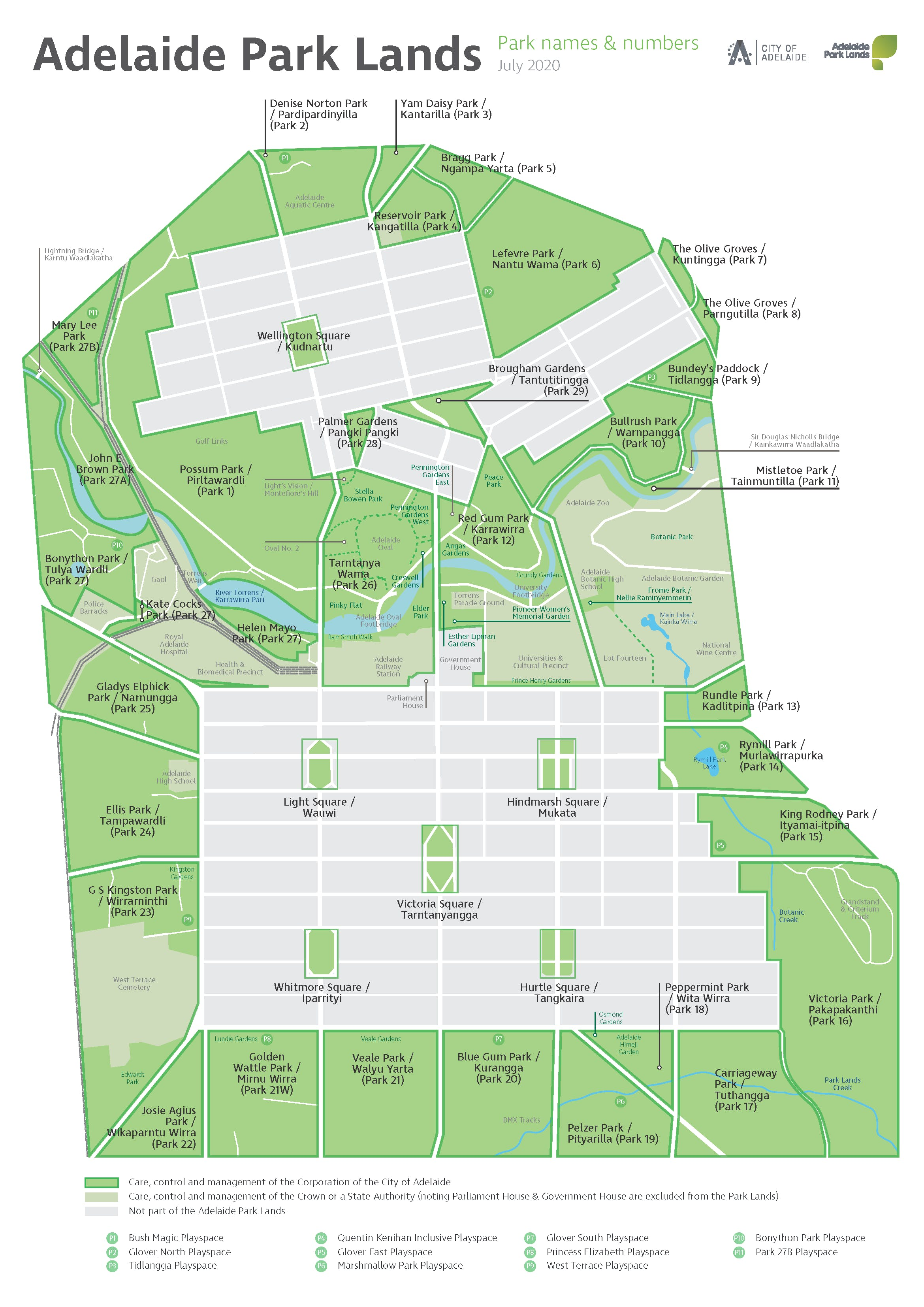 Names of individual parks and playspaces in the Adelaide Park Lands