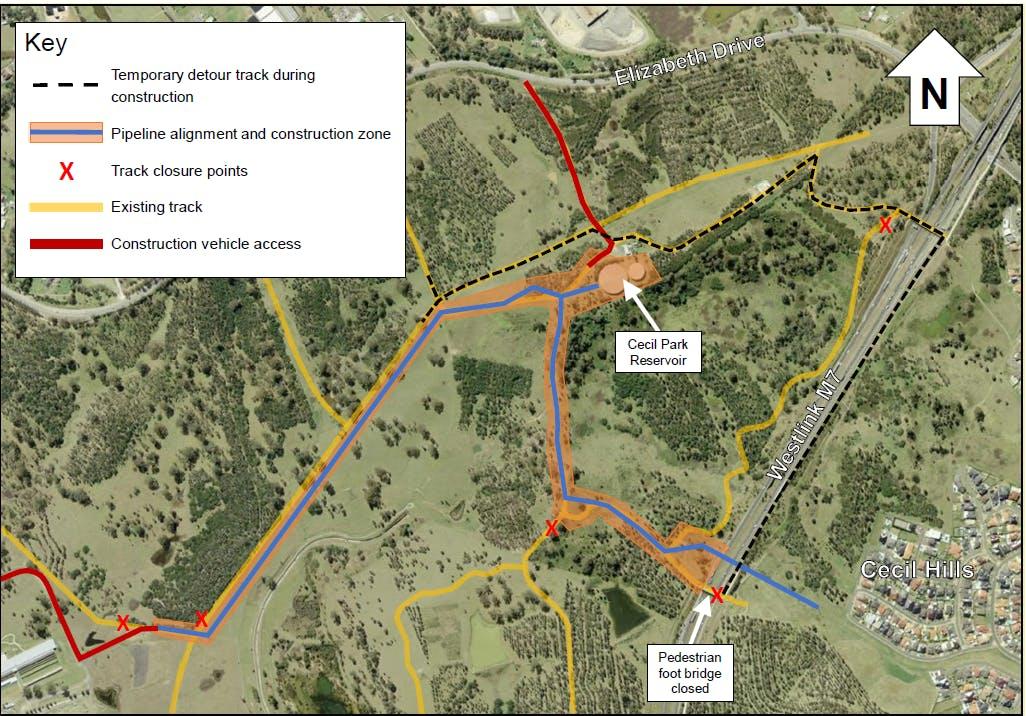 Western Sydney Parklands track closure and path diversion map