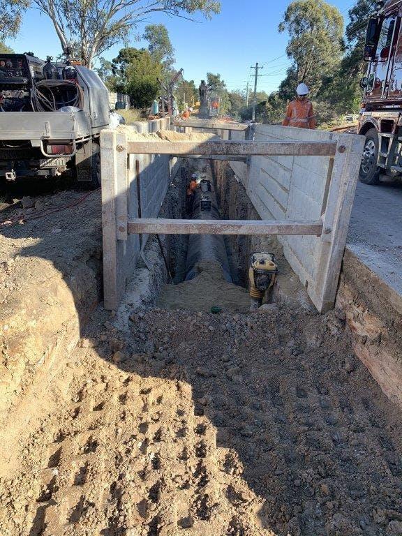 Kemps Creek pipeline construction on Cross Street - July 2021