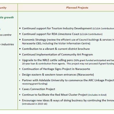 Project priorities - Theme 1, Prosperous Community