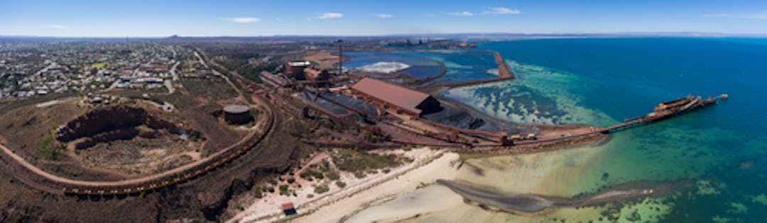 Panoramic image of the steelworks and beach at Whyalla, South Australia.