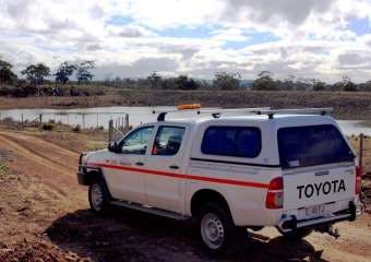 A TasWater vehicle at the Swansea Dam