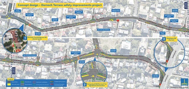 Draft Concept design - Dornoch Tce safety improvements project