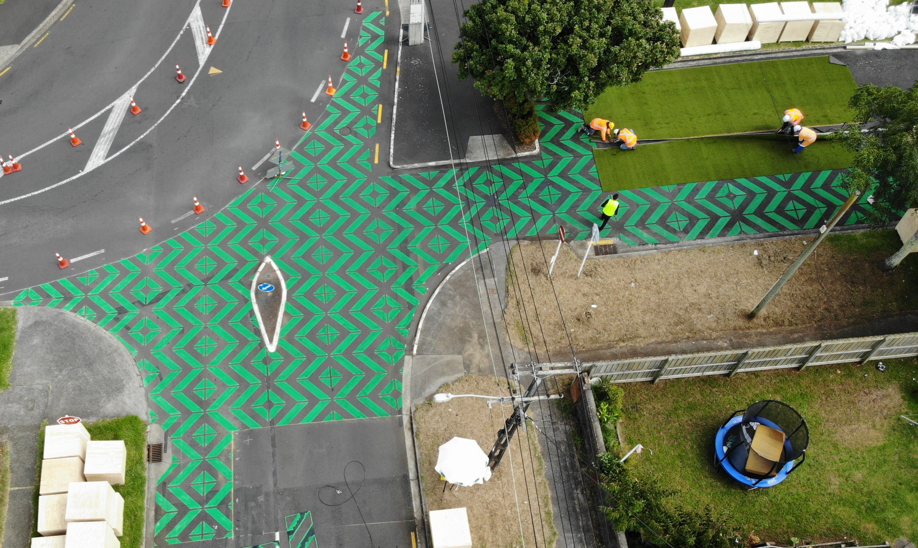 Aerial image of Arthur and Galway streets during install
