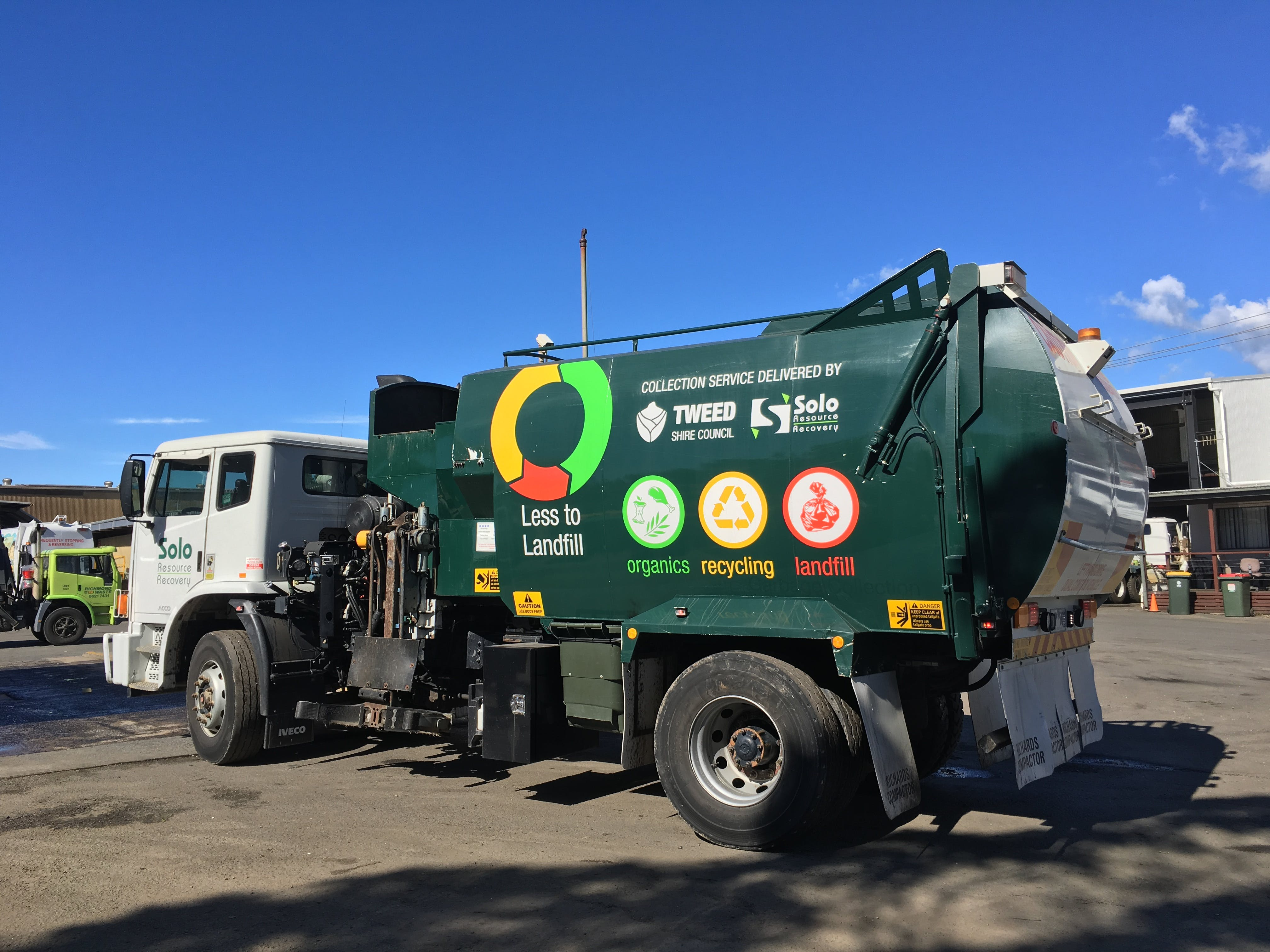 Community 'Less to Landfill' message on collection truck