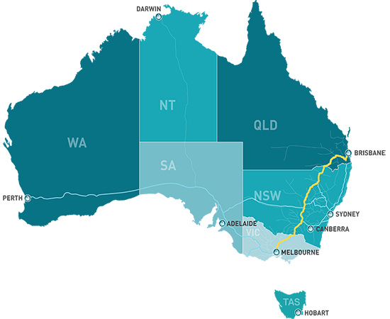 Map of Inland Rail and other networks