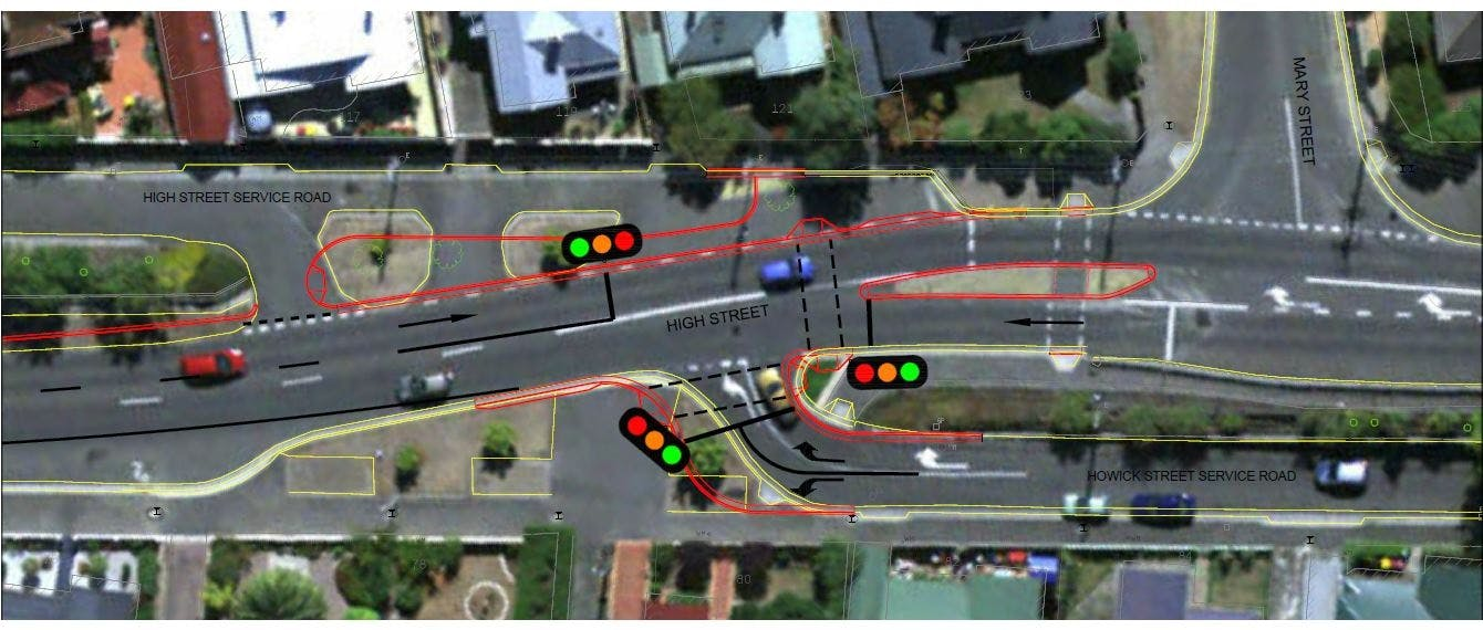 The plan to improve pedestrian safety at the High Street and Howick Street intersection