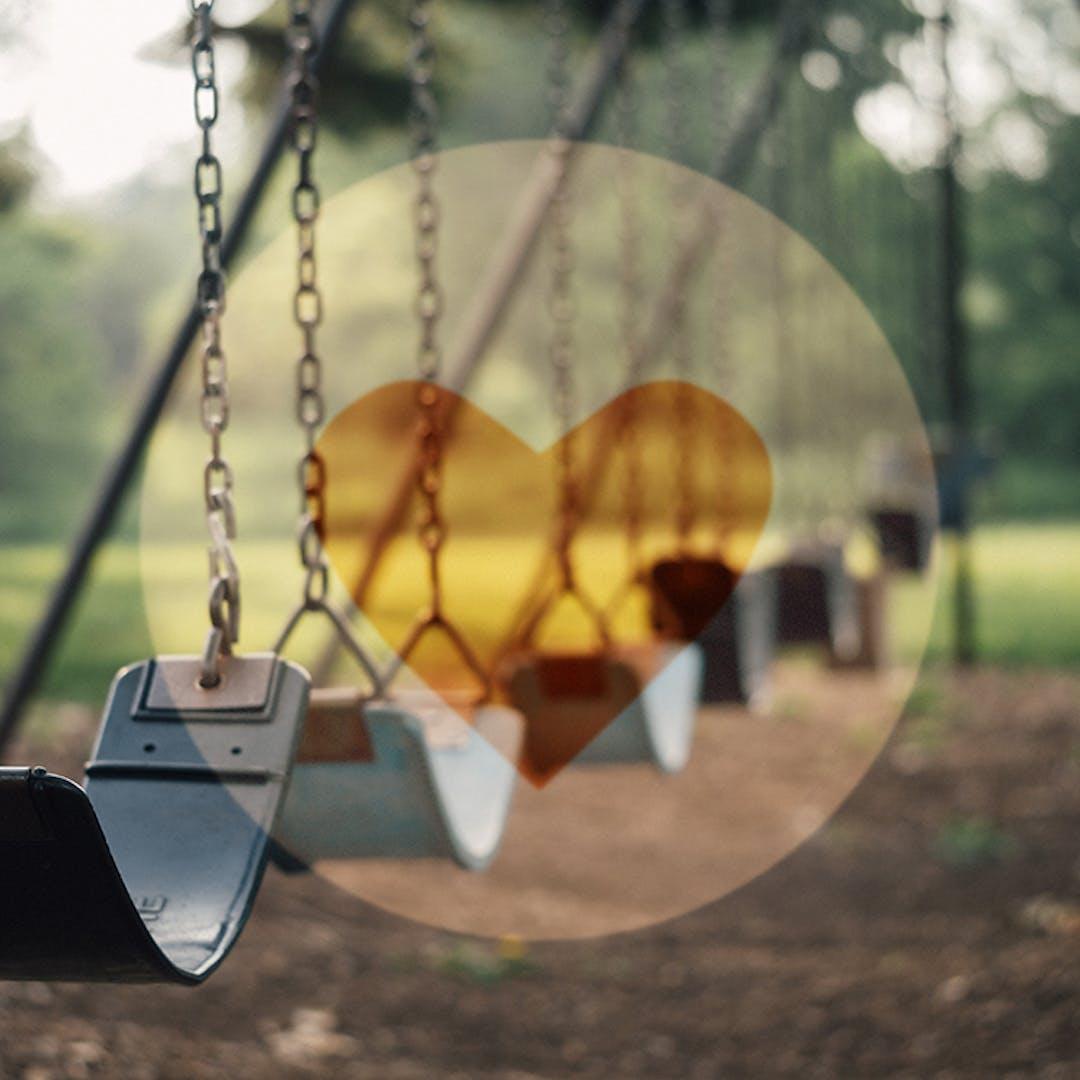 Playgrounds swings heart